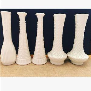 Other - Assorted milk glass white flower vases